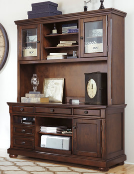 KIRKLAND 22'' Wide Brown Credenza & Hutch