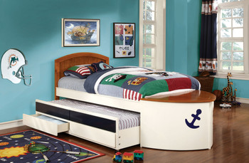 Benito Twin Captain Bed w/ Trundle & 2 Drawers