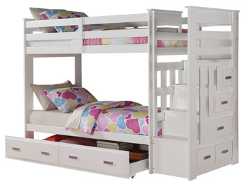 JESS White Twin Bunk Bed With Trundle