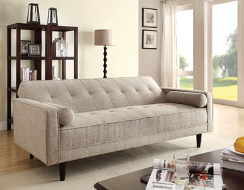 Bianca Sand Linen Adjustable Sofa with 2 Pillows
