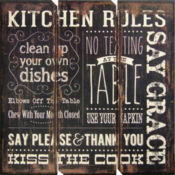 "KITCHEN RULES 16"" Wide Wall Art"