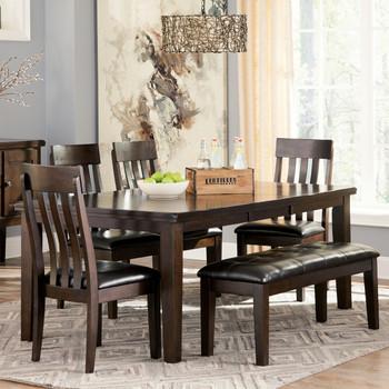 NELA Dark Brown 6 Piece Dining Set with Bench