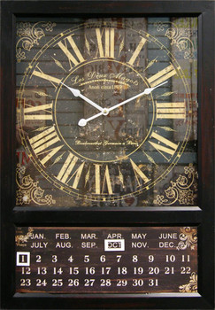 Kenri Black Wall Clock with Calendar