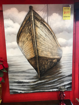 "Boat at Sea 35"" x 48"" 3D Wall Art"