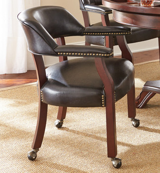Showdown Black Arm Chair with Casters