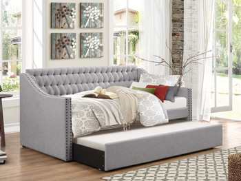 Daily Grey Fabric Daybed With Trundle