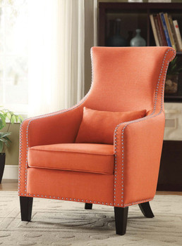 Miley Orange Fabric Nail Head Accent Chair