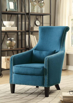 Miley Blue Fabric Nail Head Accent Chair