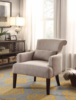 Jeny Light Brown Nail Head Accent Chair