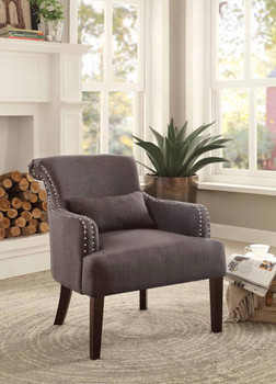 Jeny Chocolate Nail Head Accent Chair