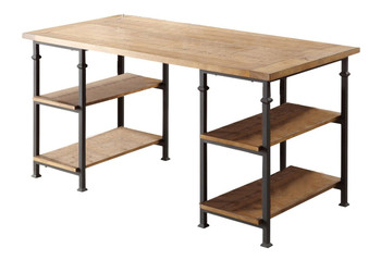 SMITH 60'' Wide Burnished Brown Wood/Iron Desk