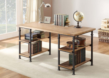Smith Burnished Brown Wood/Iron Desk