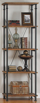 Smith Burnished Brown Wood/Iron Bookcase