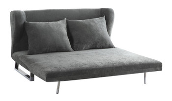 Dory Grey Velvet Sofa Bed With 2 Accent Pillows