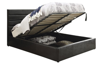 Tommy Black Leatherette Lift-Top Storage Bed