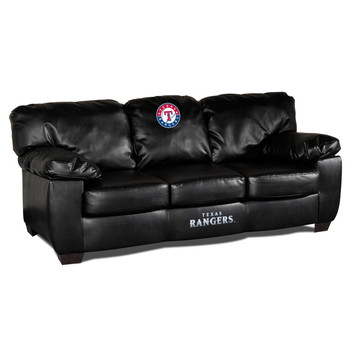 Texas Rangers Black Leather Sofa