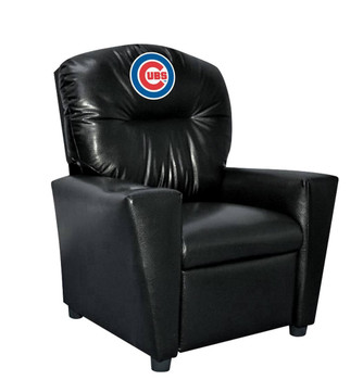 Chicago Cubs Black Faux Leather Kids Recliner