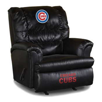 Chicago Cubs Black Leather Recliner