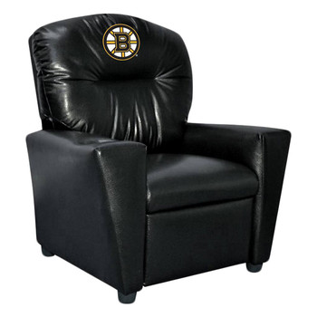 Boston Bruins Black Faux Leather Kids Recliner
