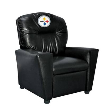 Pittsburgh Steelers Black Faux Leather Kids Recliner