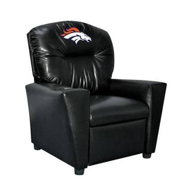 Denver Broncos Black Faux Leather Kids Recliner