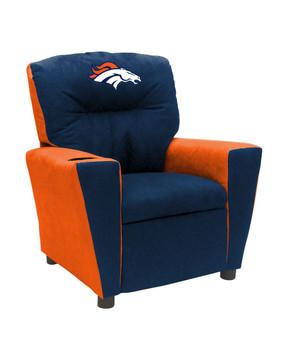Denver Broncos Blue/Orange Microfiber Kids Recliner