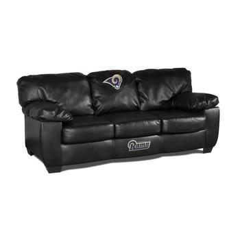 Los Angeles Rams Black Leather Sofa
