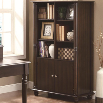 Harvey Cappuccino Bookcase with Cabinet