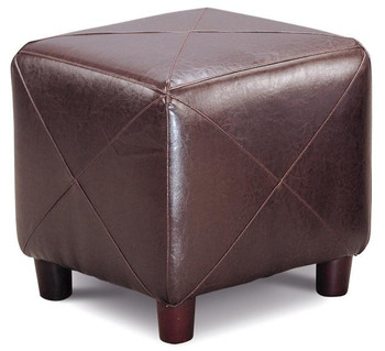 Greer Brown Leather Ottoman