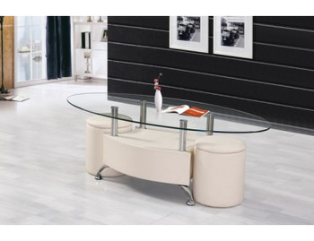 Cormac Beige Coffee Table with Ottomans