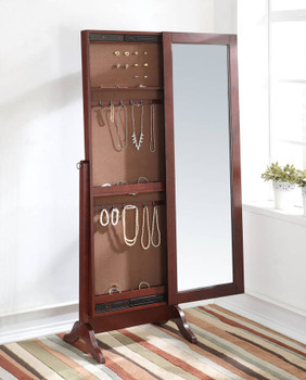 Dallon Floor Mirror with Jewelry Storage and Lock Key