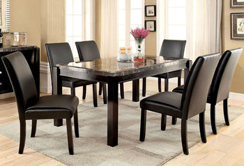 Oswell Black Marble 7 PC Dining Set
