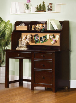 Connie Dk Walnut Desk & Hutch W/Built In Corkboard
