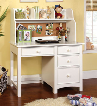 CONNIE 48'' Wide Valden White Desk & Hutch W/Built In Corkboard