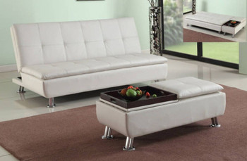 Flann White Sofa Bed