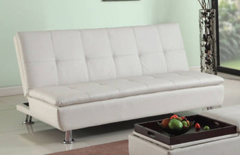 Flann White Sofa Bed with Storage Ottoman