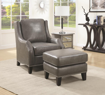 Lister Gray Leather Chair with Ottoman
