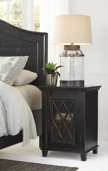 Woodrich Distressed Black Door Nightstand