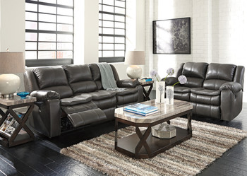 Wexford Grey Leather Reclining Livingroom Set