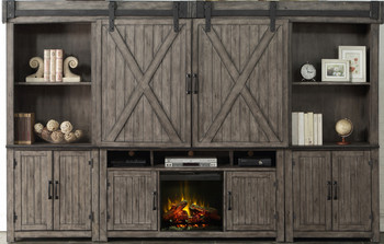 Cartwright Smoked Grey Fireplace Entertainment Wall Unit with Sliding Doors