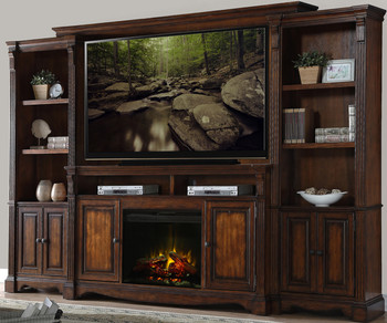 "Jeffery Hazelnut 72"" Fireplace Wall Unit"