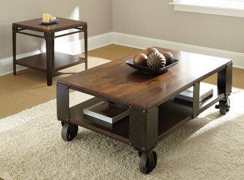 Delta Brown Two-Tone Coffee Table With Casters