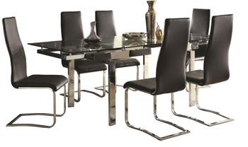 Rozelle Black 7 Pc Adjustable Dining Set