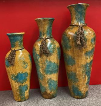 RUTILA Green and Yellow 3 Piece Vase Set