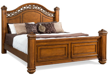 Everette Warm Oak Poster Bed 6-PC Bedroom Set
