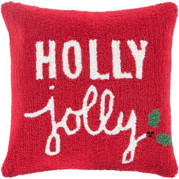 Designer Red Holly Jolly Pillow