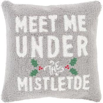 Designer Mistletoe Gray Pillow