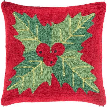 Designer Mistletoe Red Pillow
