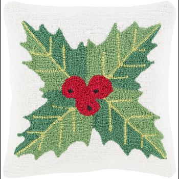 Designer Mistletoe White Pillow
