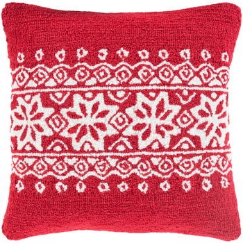 Designer Snowflake Red Pillow